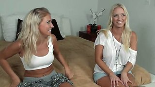 Hot Blondes Like To Tese Each Other's Shaved Pussies And Natural Perky Boobs
