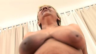 Massive Tits Grandma Evika Is Riding On Steve Q's Pecker Wildly As She Needs To Ease Her Lusty Needs