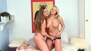 Lesbian Babes Gets Punish And Hard Fucking On Their Pussy.