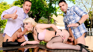 Sexy Young Blonde Gets Fucked By 2 Cocks On A Hot Summer Day