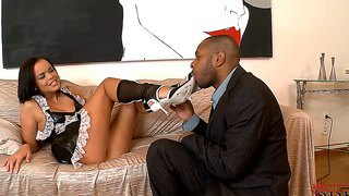 Delightful Lickeris Brunette Slut Linet In Maid Costume Seducing Her Boss And Let Him Do All Wild Things
