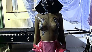 German Slut In Latex And Gimp Mask In Bizarre Fetish Scene