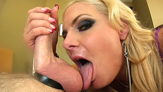Super Hot Blonde Babe Is A Ball-Sucking Whore In This Video!